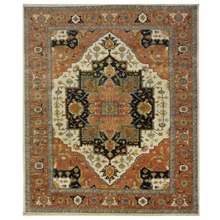Indian Heriz Serapi Rug - 8.11 x 11.7