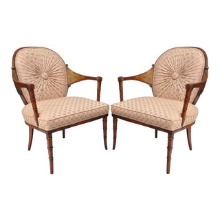 Vintage Faux Bamboo Hollywood Regency Pink Fireside Lounge Arm Chairs - a Pair