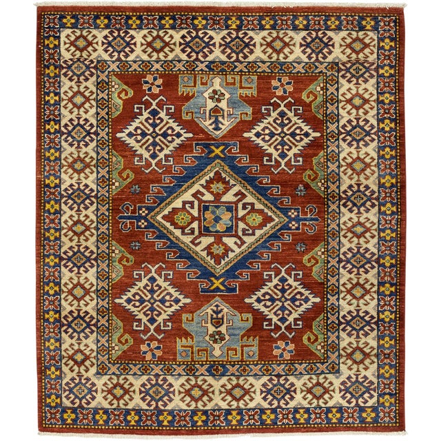 """Gabbeh Hand Knotted Area Rug - 5'2"""" X 5'10"""" - Image 1 of 3"""
