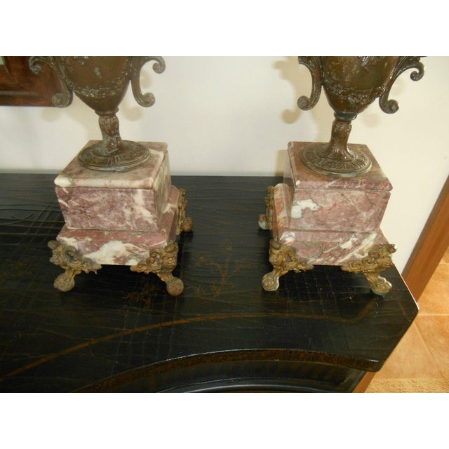 Antique Rose Italian Marble and Gilt Brass Candelabras - A Pair - Image 5 of 6