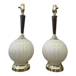 Mid-Century Modern Milk Glass Lamps - A Pair