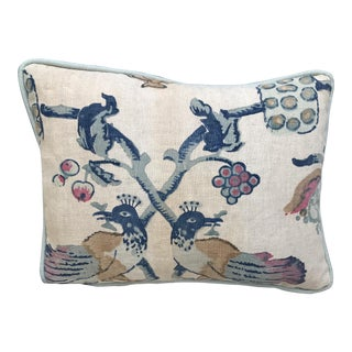 Printed Cotton Pillow With Peacocks