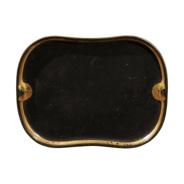 Vintage Regency English Black & Gilt Tole Tray - Image 1 of 6