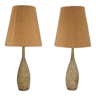 Pair of Mid Century Cork Lamps