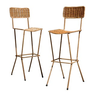 Modernist Wicker Bar Stools - Pair