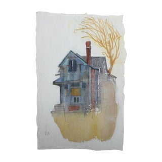 """Gray House"" Original Watercolor Painting"