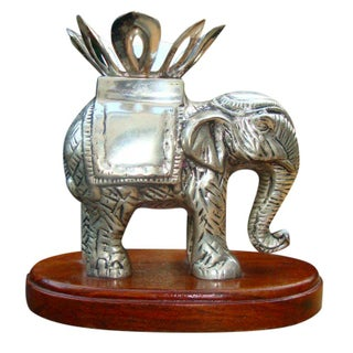 Antique Sterling Silver Anglo Raj Carved Elephant