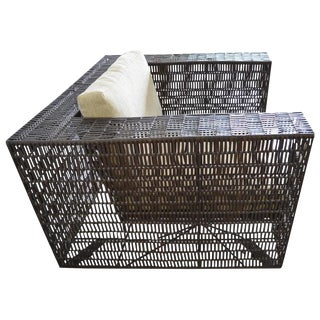 Woven Leather Lounge Chair Cube