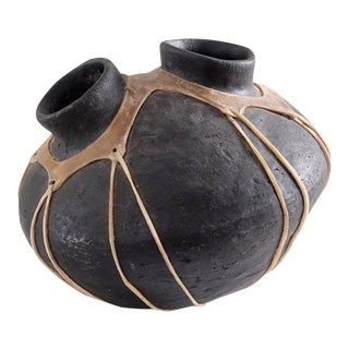 Native American Tarahumara Black Pottery With Rawhide Straps
