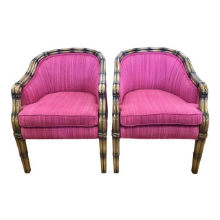 Vintage Faux Bamboo Barrel Back Chairs - A Pair