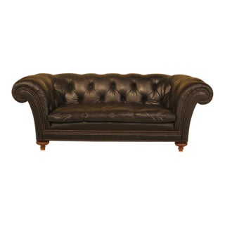Baker Black Tufted Leather Chesterfield Sofa