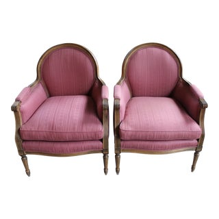 Vintage French Louis XVI Style Bergeres - Pair