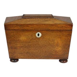 Regency Mahogany Sarcophagus Form Tea Caddie