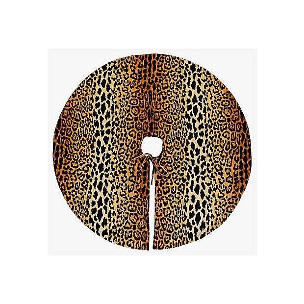 """Custom Tailored X-Large 55"""" Leopard Spot Velvety Christmas Tree Skirt - Image 3 of 9"""