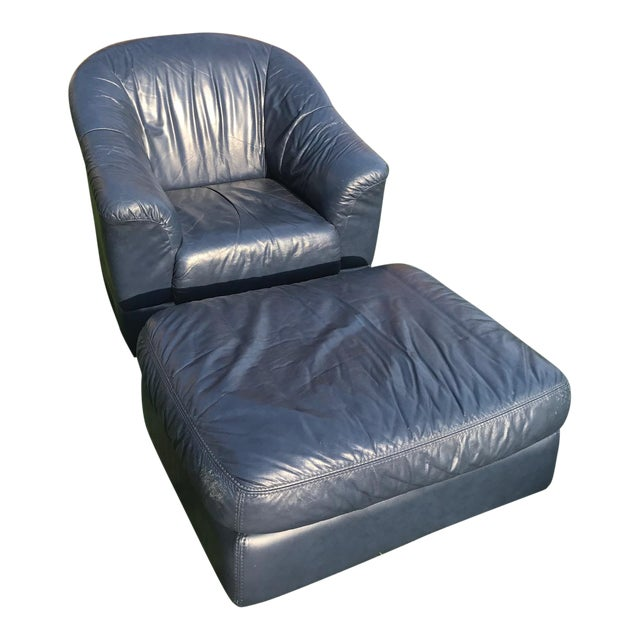 Mid-Century Modern Blue Leather Barrel Chair & Ottoman - Image 1 of 7