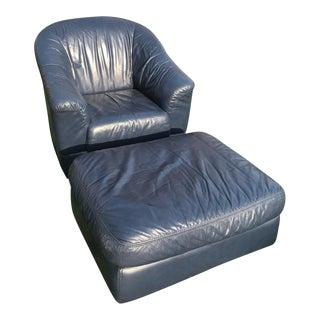 Mid-Century Modern Blue Leather Barrel Chair & Ottoman