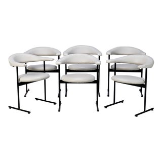 Set of Six Mid-Century Streamlined Arm Chairs with Black Metal Frames