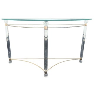Lucite & Brass Sofa Table