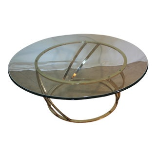 Vintage Milo Baughman Style Brass & Glass Coffee Table