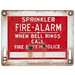 Vintage Enamel Metal Sign: Sprinkler Fire Alarm