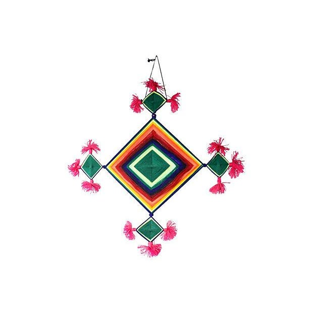 Image of Vintage Native American Ojo De Dios 70s Wall Art