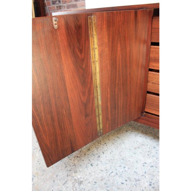 Mid-Century Walnut and Brass Credenza after Paul McCobb - Image 9 of 10