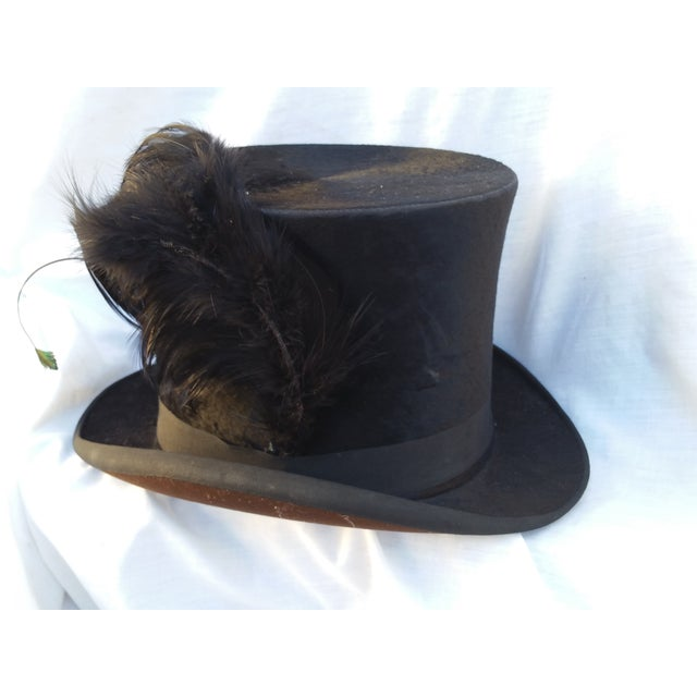 Victorian Beaver Top Hat With Feather - Image 2 of 5
