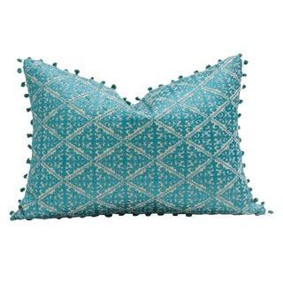 Swati Aqua Pom Pom Pillow
