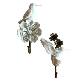 Porcelain & Brass Birds Wall Mount Hooks - Pair
