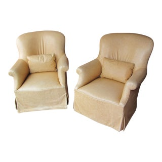 Dessin Fournir Leather Swivel Chairs - Pair