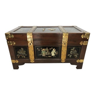 Vintage Chinoiserie Brass Bound Blanket Box/Chest