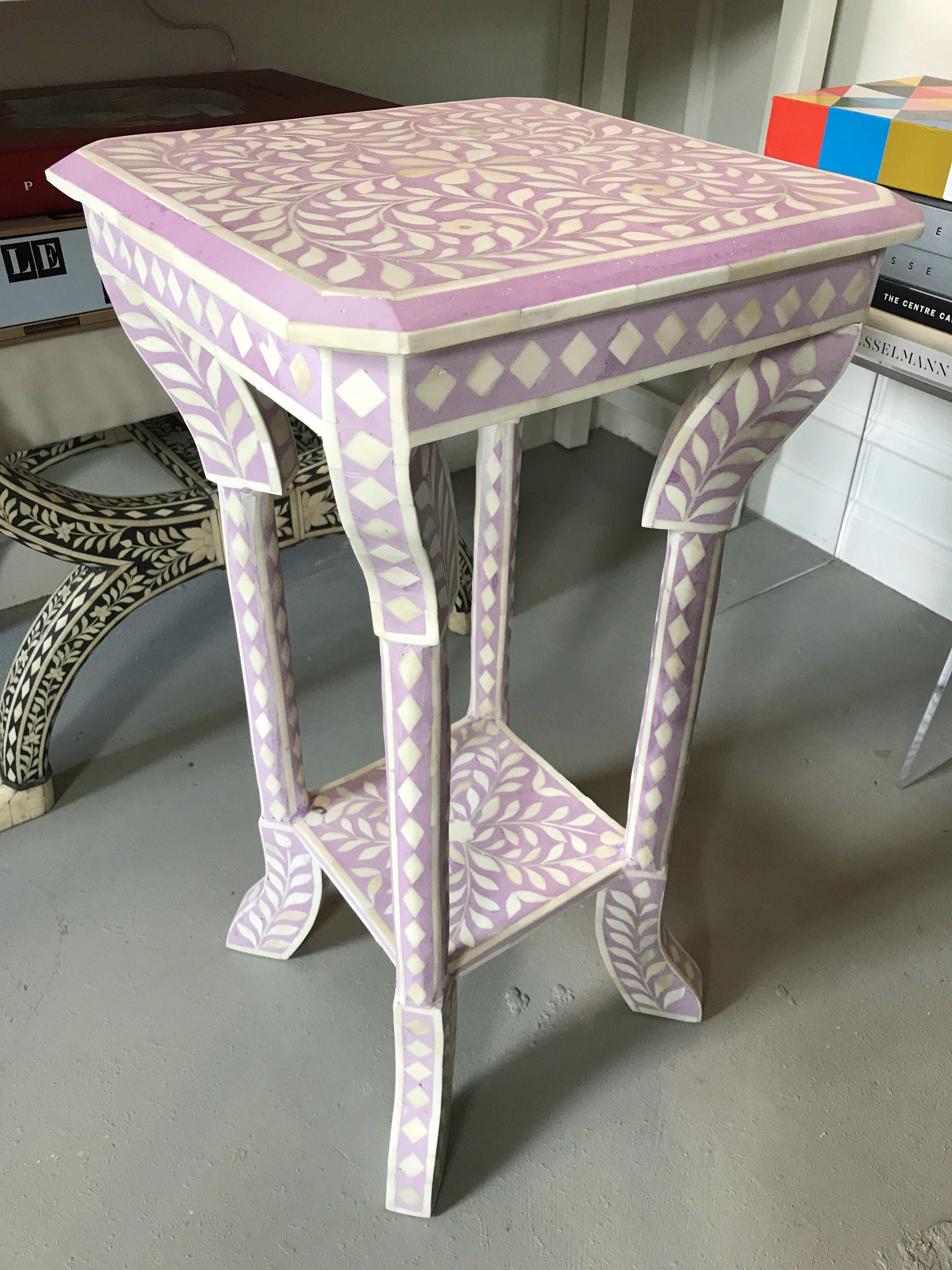 Lilac Bone Inlay Side Table   Image 2 Of 6