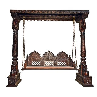 Carved Elephant & Peacock Brown Wooden Swing Set Indoor Jhula