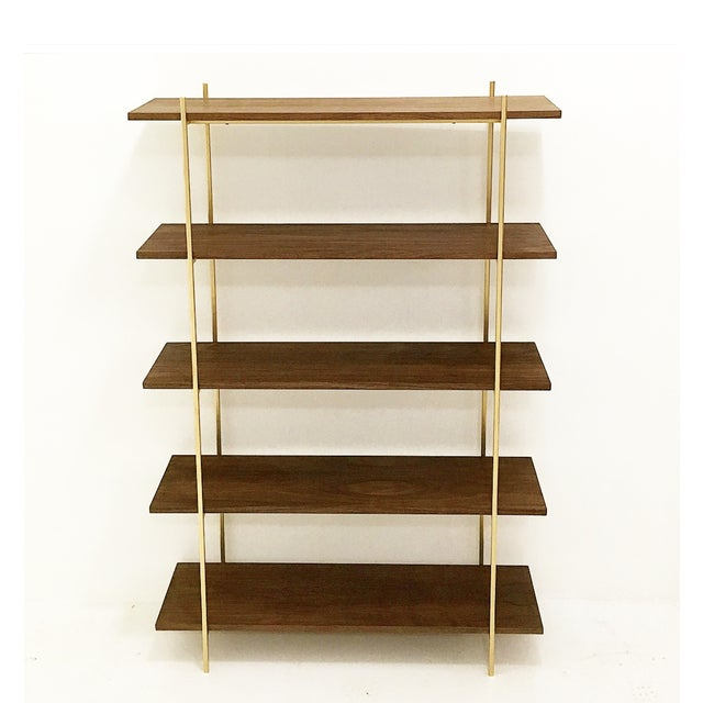 Global Views Wall Shelf: Modern Walnut And Gold Shelving Unit