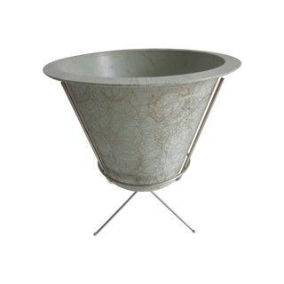 MCM Atomic Green Fiberglass Plant Pot  and Stand
