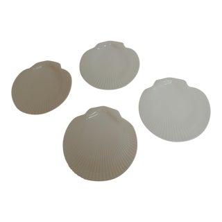 Scalloped Shell Porcelain Plates - Set of 4