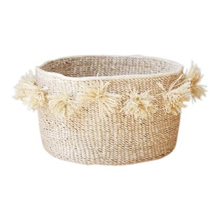 Pom Pom Floor Basket, Natural