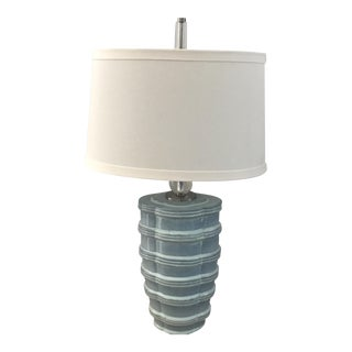 Pale Blue Ceramic Lamp With Oval Shade