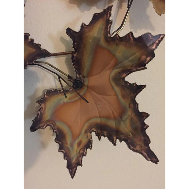 Vintage Jere Style Copper Brass Maple Leaves Metal Wall Art - Image 3 of 6