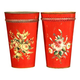 Early 20th Century French Painted Tole Baskets with Floral Decor - a Pair