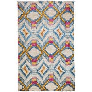 """Ikat, Hand Knotted Area Rug - 6' 0"""" x 9' 3"""""""