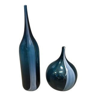Contemporary Blue Glass Accent Vases - A Pair