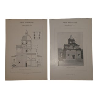 Pair of Vintage 1902 Architectural Images Church of Santa Maria Nuova Italy