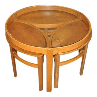 1960's Round Teak Coffee Table With Nesting Tables - Set of 4