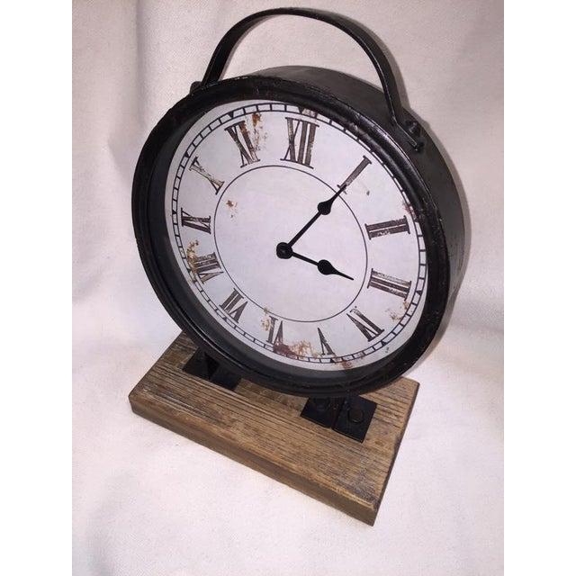 Vintage Industrial Barnwood Base Clock - Image 4 of 5