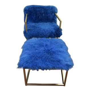 Mid-Century Sheepskin Chair & Ottoman