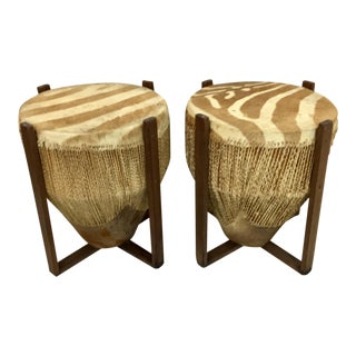 African Zebra Skin Drum Tables - a Pair
