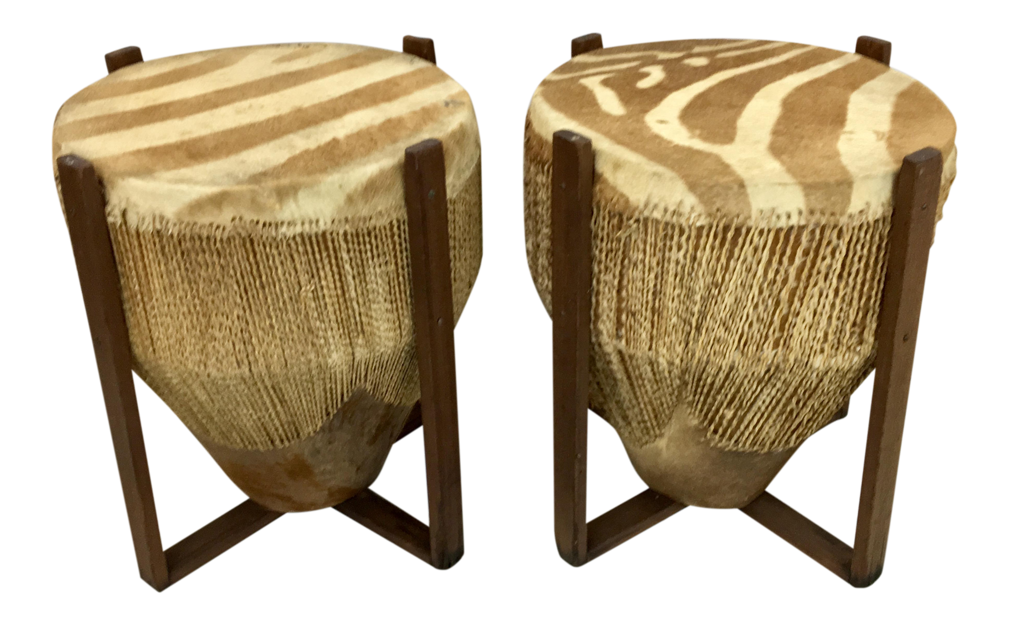 African Zebra Skin Drum Tables   A Pair