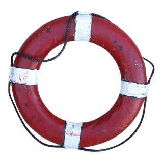 Vintage 1950s Red &White Nautical Life Preserver