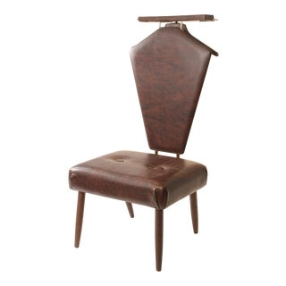 Mid Century Modern Brown Vinyl Butler Chair